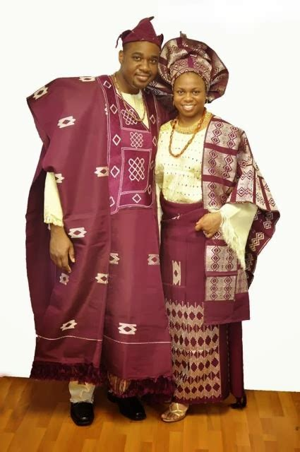 African Clothing: Burgundy and Cream African Attire for